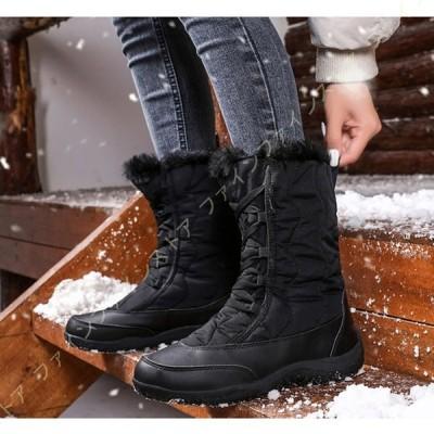レディース 冬用ブーツ スノーブーツ 裏ボア 雪靴 防寒 防水 無地 カジュアル 通勤通学 耐久性 脱ぎ履き便利 冬 ウインターブーツ フェイクファー 裏地