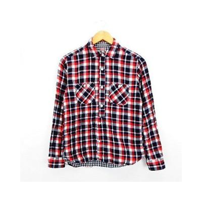 【中古】ビームス BEAMS シャツ 長袖 チェック ダブルガーゼ 胸ポケット S レッド×ネイビー×ホワイト ※EKM メンズ 【ベクトル 古着】