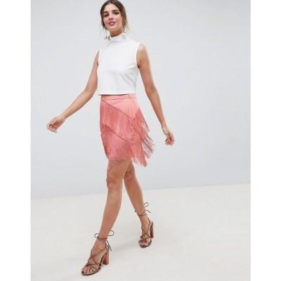 エイソス ASOS DESIGN レディース ミニスカート スカート fringe mini skirt ローズピンク