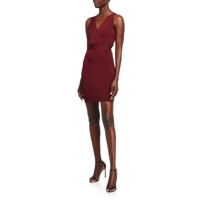 エルベレジェ レディース ワンピース トップス Bandage-Knit V-Neck Mini Dress