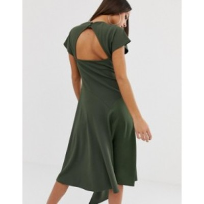 エイソス レディース ワンピース トップス ASOS DESGIN mixed fabric midi dress with open back Khaki