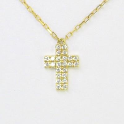 K18 ダイヤモンド ダブルクロスパヴェネックレス 0.07ct  天然石 ダイヤモンドネックレス イエローゴールド 18金