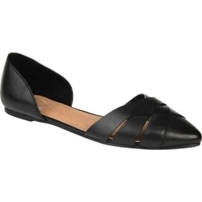 ジャーニーコレクション サンダル シューズ レディース Brandee Flat (Women's) Black Faux Leather
