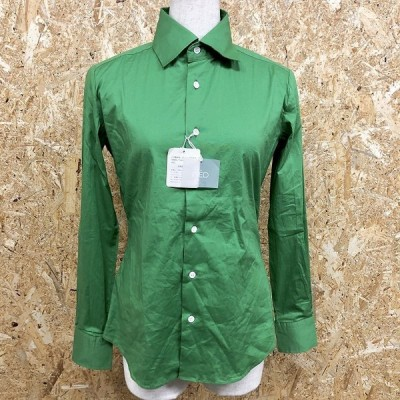 INED イネド 3 レディース シャツ ストレッチ フレンチフロント ポケット無し ワイドカラー 長袖 綿×ポリウレタン グリーン 緑