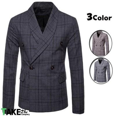 テーラードジャケット メンズ ジャケット ダブルブレスト チェック柄 スリムジャケット ビジネスジャケット ブレザー 2021 父の日