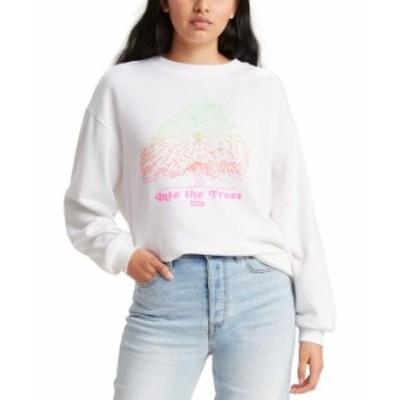 リーバイス レディース シャツ トップス Women's Graphic Print Sweatshirt Crew Into The Trees White