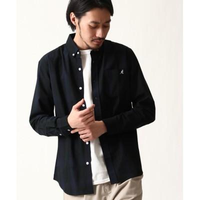 【ZIP FIVE】 ZIP FIVE×KANGOL ワンポイント刺繍長袖ブロードシャツ メンズ ブラック系1 S ZIP FIVE