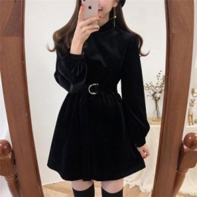 韓国 ファッション レディース ワンピース ワンピ ミニ丈 ベルト付き ベロア フレア 長袖 ゆったり 無地 上品 ガーリー