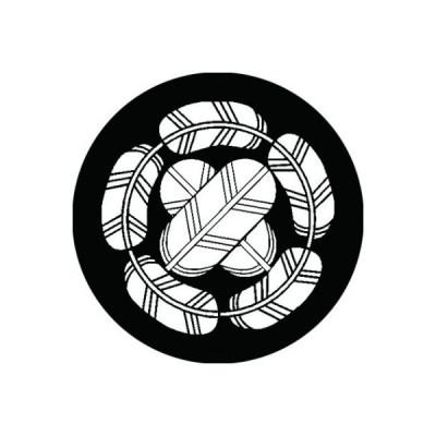 家紋シール 白紋黒地 五つ鷹の羽丸に違い鷹の羽 布タイプ 直径40mm 6枚セット NS4-1126W