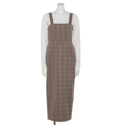 OSMOSIS (オズモーシス) レディース Tシャツ付ジャンパースカート BEIGE X BROWN ONE