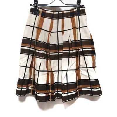 エムズグレイシー M'S GRACY スカート サイズ38 M レディース - ベージュ×ダークブラウン×ブラウン ひざ丈/チェック柄【中古】20210317