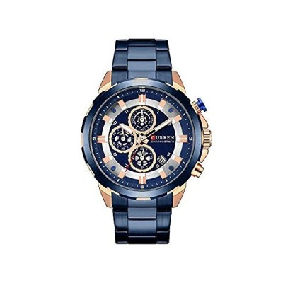 CURREN メンズ腕時計 クォーツアナログカレンダー メンズ腕時計 ファッション防水ステンレススチールバンド ブラック ブルー