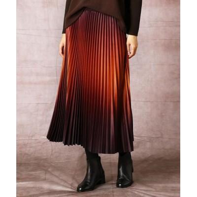 COMME CA/コムサ グラデーションプリントアコーディオンプリーツスカート ブリックオレンジ×ブラウン 11号