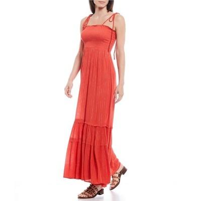 エラン レディース ワンピース トップス Tie Strap Lurex Stripe Smocked Bodice Tiered A-Line Maxi Dress Red