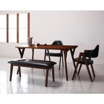 北欧モダン風ダイニング VILLON ヴィヨン 4点セット テーブルW140+チェア ブラック×2+ベンチ ホワイト