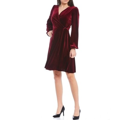 カールラガーフェルド レディース ワンピース トップス Long Puff Sleeve V-Neck Tie Waist Stretch Velvet Faux Wrap Dress Wine