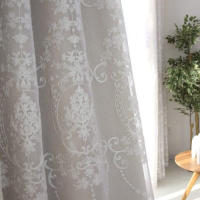 カーテン 姫 かわいい 遮光カーテン ベージュ 遮光率95% カーテン 北欧 刺繍 レースカーテン 幅100×丈178cm 2枚組