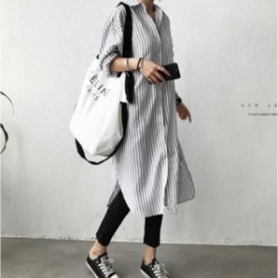 シャツワンピース ロングシャツ レディース ロングワンピース ロング丈 春服 長袖 ストライプ 大きいサイズ ゆったり 体型カバー 新作