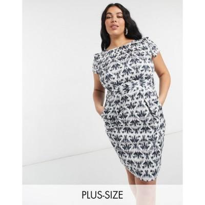 クローゼット ドレス 大きいサイズ レディース Closet London Plus cap sleeve knee length wiggle dress in black jewel print エイソス ASOS ブラック 黒