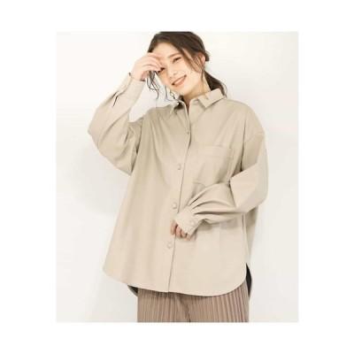 MK MICHEL KLEIN / 【洗える】エコレザーオーバーシャツ