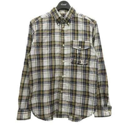 Woolrich Woolen Mills ボタンダウンチェックシャツ ホワイト×ブラウン サイズ:S (明石店) 210416