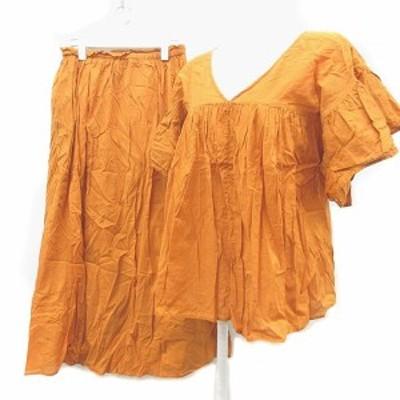 【中古】ティアラ Tiara セットアップ 上下 チュニック Vネック ドルマン 半袖 フレアスカート M オレンジ レディース