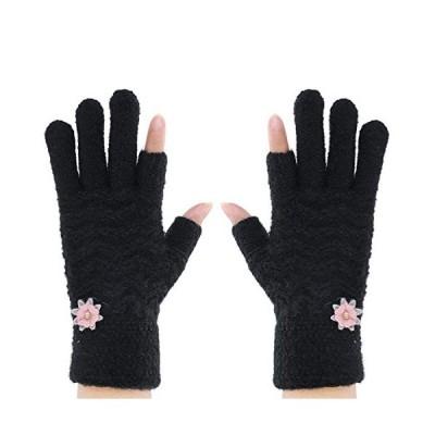 レディース手袋 おしゃれ フリース手袋 5本指 親指 人差し指なし スマホ タッチパネル対応 小花 デザイン 可愛い 韓国風 手袋 秋冬 自