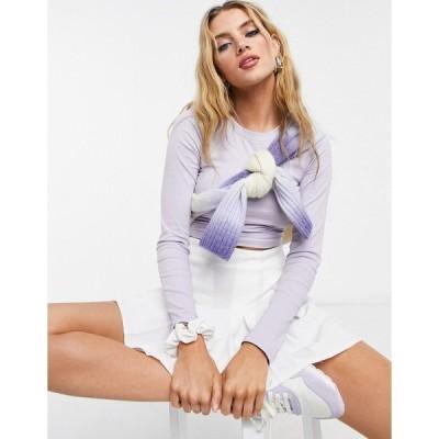 モンキ レディース Tシャツ トップス Monki Barb organic cotton long sleeve top in lilac Lilac