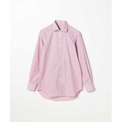 【トゥモローランド】 120/2コットンストライプ ワイドカラー ドレスシャツ NEW WIDE−3 メンズ 34レッド系 38 TOMORROWLAND