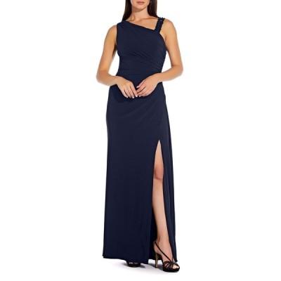 アドリアナ パペル レディース ワンピース トップス Asymmetrical Neck Vent Dress MIDNIGHT