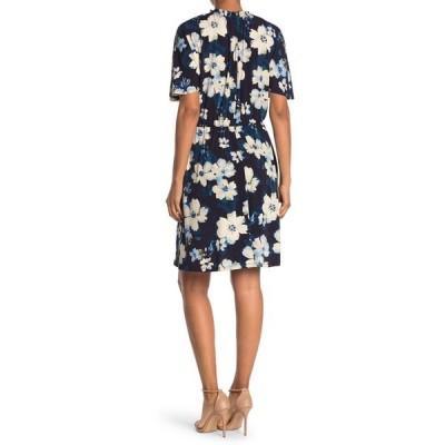 マギーロンドン レディース ワンピース トップス Floral Printed Belted A-Line Dress NAVY/PERI/INK BLUE