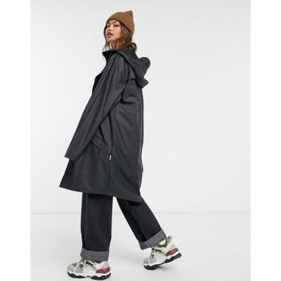 レインズ レディース ジャケット&ブルゾン アウター Rains long waterproof jacket in black Black