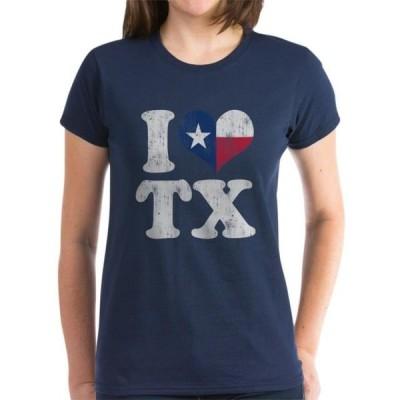 レディース 衣類 トップス CafePress - I Heart Texas Flag TX T Shirt - Women's Dark T-Shirt グラフィックティー