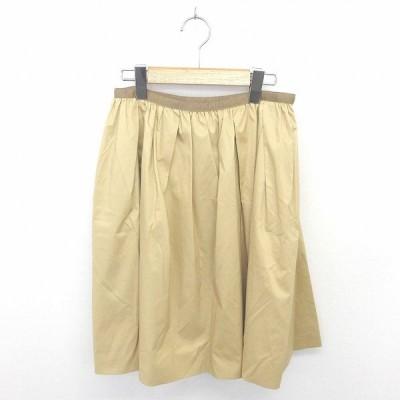 【中古】ノーリーズ Nolley's スカート フレア ひざ丈 薄手 無地 シンプル 綿 コットン 38 薄茶 ベージュ /TT34 レディース 【ベクトル 古着】