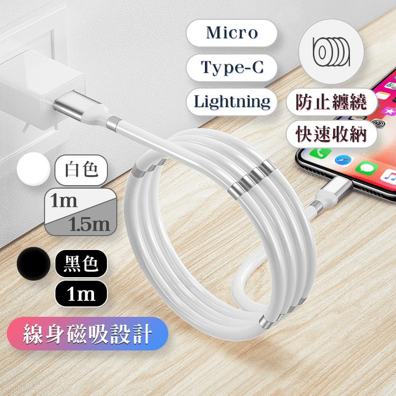 強力磁吸收納快充充電線Type-C  黑色 1m