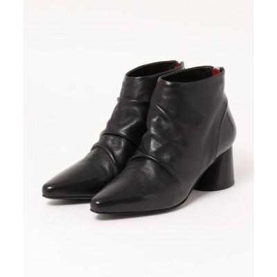 ブーツ 【HALMANERA】ポインテッドトウギャザーショートブーツ(H93001)