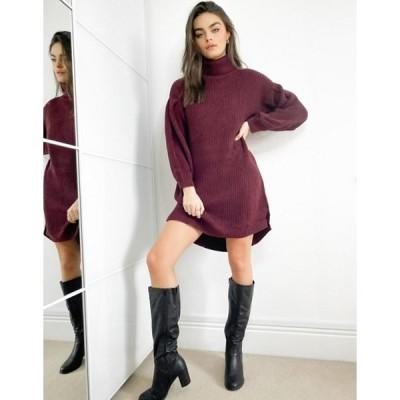 ネイティブユース レディース ワンピース トップス Native Youth slouchy roll neck sweater dress in burgundy