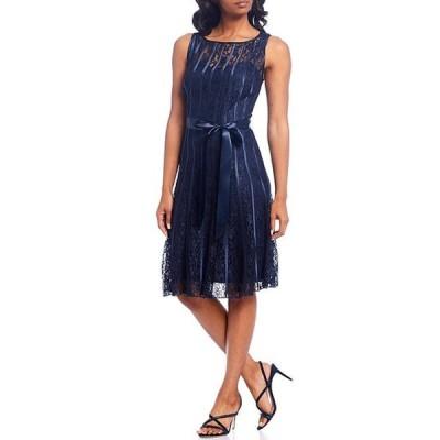 イグナイト レディース ワンピース トップス Lace Satin Belt Sleeveless Pleated A-Line Dress