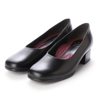 ブラックギャラリー BLACK GALLERY 本革ラウンドトゥパンプス(WB5105) (ブラック)フォーマル/入学/卒業/面接/お受験/就活/大きいサイズ