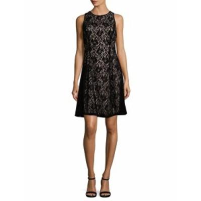 マギーロンドン レディース ワンピース Velvet Lace Fit-&-Flare Dress