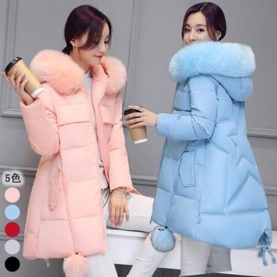 フード付き コート レディース 冬 30代 40代 大きいサイズ 中綿コート ファー キレイめ 細身 無地 ロング ミディアム丈 コート 20代