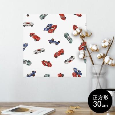 ポスター ウォールステッカー シール式 30×30cm Ssize 壁 インテリア おしゃれ 剥がせる wall sticker poster 車 ミニカー 柄 012278
