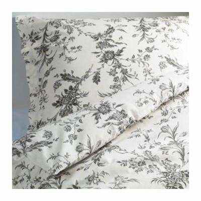 IKEA イケア 掛け布団カバー&枕カバー ホワイト 白 グレー シングル 20172825 ALVINE KVIST