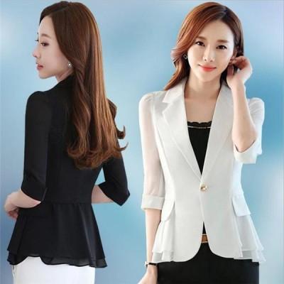 ジャケット 薄い  フォーマル スーツ 七分袖 着痩せ  夏  通勤OL ビジネス  オフィス 女性 レディース シフォン エレガント 無地
