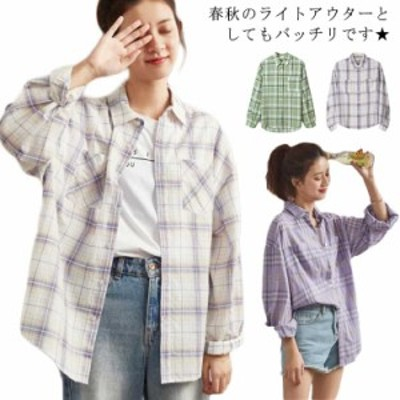 ブリットチェック レディース シャツ チェック柄 長袖 シャツアウター ライトアウター ゆったり オーバーサイズ ゆるシャツ カ