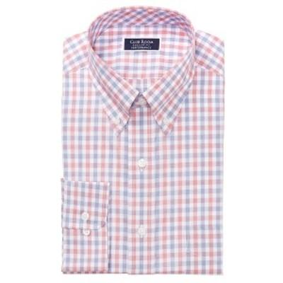 クラブルーム メンズ シャツ トップス Men's Classic/Regular-Fit Performance Stretch Gingham Check Dress Shirt, Created for Macy's