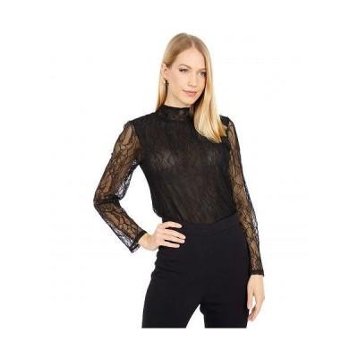 WAYF レディース 女性用 ファッション ブラウス Pacific Mock Neck Lace Top - Black Lace