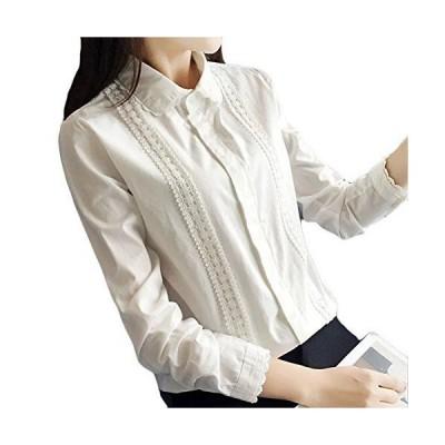 (アッシュランゲル) ASHERANGEL レディース ワイシャツ 通勤 通学 シャツ ブラウス 長袖 レース XL ホワイト