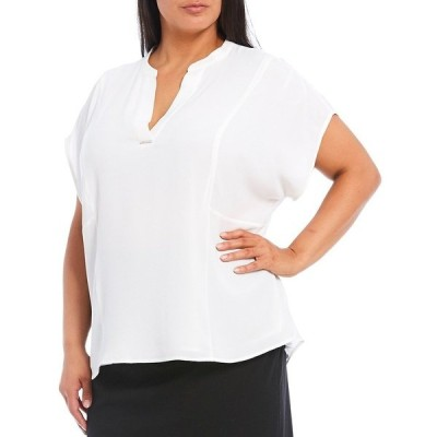 カルバンクライン レディース シャツ トップス Plus Size Crepe de Chine Split V-Neck Short Sleeve Top Soft White