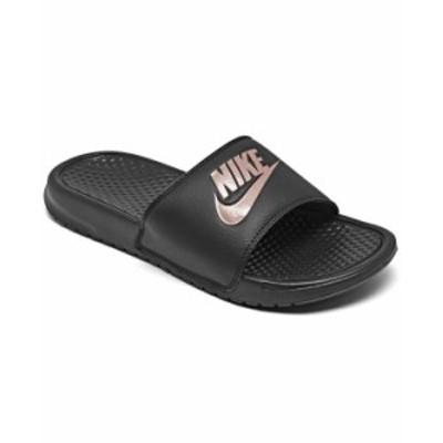 ナイキ レディース サンダル シューズ Women's Benassi JDI Swoosh Slide Sandals from Finish Line Black Rose Gold